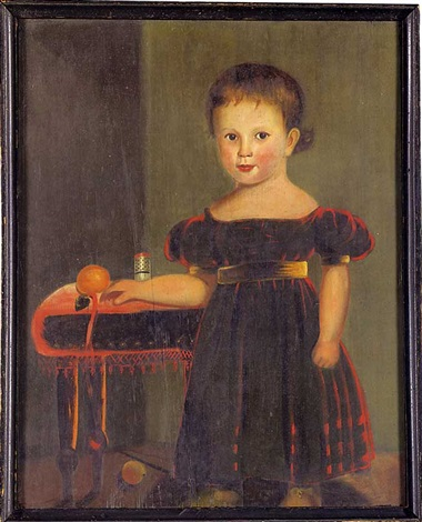 portrait of a young boy wearing a red dress with gold sash sleeve bands and shoes by john sherburne blunt