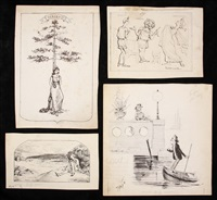 social satirical drawings (16 works) by francis gilbert attwood