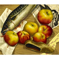 untitled (fish and apples) by helen garber