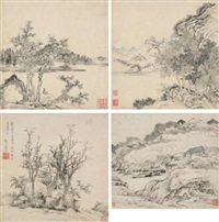 landscape (set of 4) by luo xuan