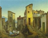 civitella. bauernfamilie bei einem feuer und einer brunnenanlage in der altstadt by jacob jacobson