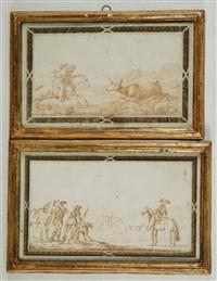 scene di caccia (pair) by pectoralius joannes