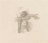 silkeborg - jütland (+ baumstudie, verso) by ludwig heinrich theodor (louis) gurlitt