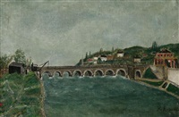 vue de pont de sèvres et de saint-cloud by henri rousseau