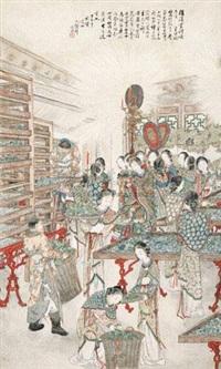 皇后视蚕图 (figure) by xu yan
