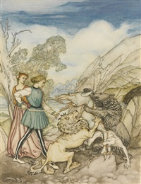 cesarino and the dragon by arthur rackham