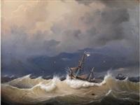 stürmische see mit in wellen kämpfendem segelschiff by johann baptist weiss