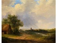 sommerliche landschaft mit aufziehendem regen by marinus adrianus koekkoek the elder