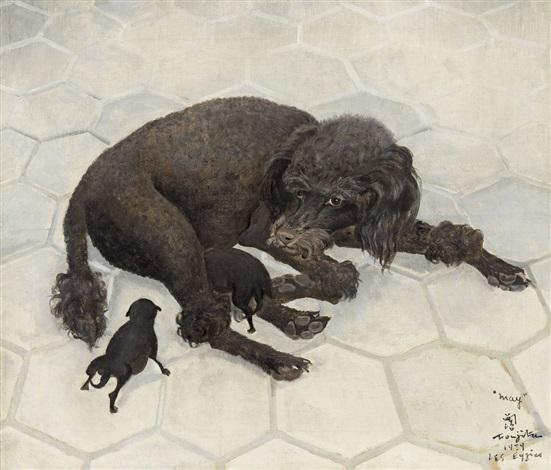 may ou la chienne noire allaitant by léonard tsuguharu foujita