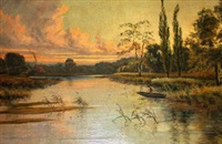fishing on a tranquil river by e. lancaster hooper