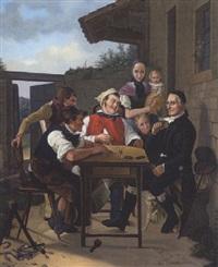 kartenspieler vor der dorfschmiede by friedrich hohbach