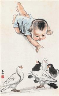 儿童与和平鸽 by jiang zhaohe