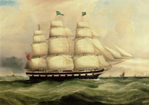 the english ship catherine nearing a harbor by duncan mcfarlane