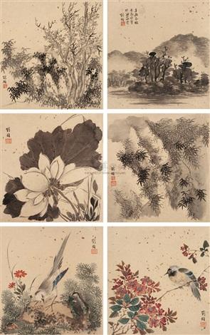 山水花鸟 (landscapes and small birds) (album w/10 works) by liu zhen