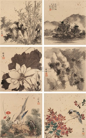 山水花鸟 landscapes and small birds album w10 works by liu zhen