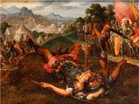 enthauptet den philister goliath by kaspar (jasper) van den hoecke