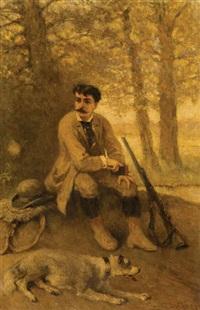chasseur et chien au repos dans la forêt by cesare felix georges dell' acqua