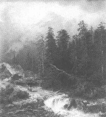 romantische hochalpenlandschaft mit wasserfall by wilhelm porttmann