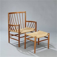 armchair and stool (pair) (model j82 and j83) by jørgen bækmark
