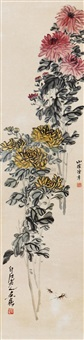 菊虫图 (chrysanthemum and insect) by chen banding and qi baishi