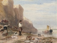 a man and his dog before the east cliffs, hastings by samuel austin