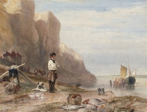 a man and his dog before the east cliffs hastings by samuel austin