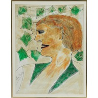 portrait with green leaves (double sided) by lee godie