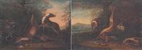 jagdstilleben: erlegter hase un vögel am waldboden, von zwei jagdhunden bewacht by johann paul waxschlunger