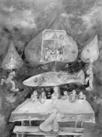 surrealistische komposition mit fisch über einem tisch by jan janczak
