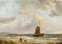 ausfahrende fischerboote an der küste by hermanus koekkoek the elder