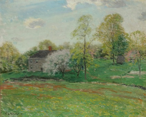 old homestead in springtime by willard leroy metcalf