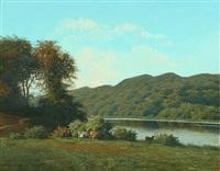 cows by a lake by carl frederik bartsch