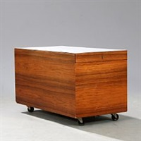 bar cabinet of brazilian rosewood with white formica top by poul norreklit