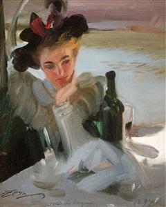 dam vid café isle de seguin lady in a café isle de seguin by anders zorn
