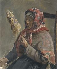 bretonische fischersfrau beim spinnen by leon-antoine-lucien couturier