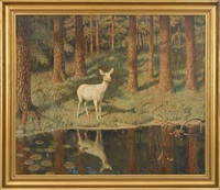 forest scenery with a fawn at a forest lake by gerhard heilmann