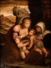 maria mit dem kind, der heiligen anna sowie dem johannesknaben by anonymous-italian
