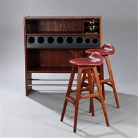 freestanding bar and a pair of bar stools (model od 61) (set of 3) by poul heltborg and erik buck