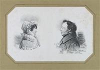 doppelporträt des amtsrats luwig samuel bogislaw kühne und seiner frau (brustbilder, einander zugewandt) by franz krüger