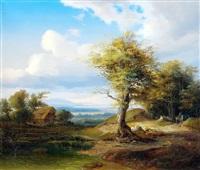 weite vorgebirgslandschaft mit bauernhaus by emil heilmair