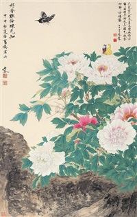 butterflies and peonies by wu tai