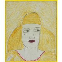 yellow hat, blonde hair by lee godie