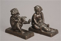 children at play with dog and cat bookends (pair) by edith barretto stevens parsons