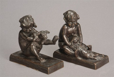 children at play with dog and cat bookends pair by edith barretto stevens parsons