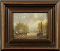 sailing vessels on a river by abraham hulk the younger