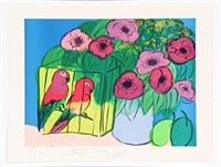composition with parrots and flowers by walasse ting