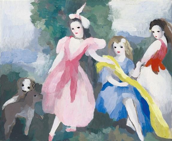 trois jeunes filles aux petits chiens by marie laurencin