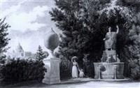vue des jardins de la villa medicis by victor baltard