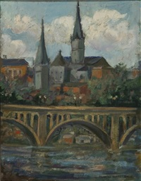 view of georgetown university and the key bridge by martha moffett bache