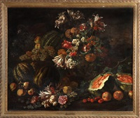 still life, flowers & fruit by michelangelo di campidoglio